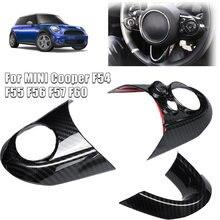 3 pçs de fibra carbono volante guarnição capa para bmw mini cooper f54 f55 f56 f57 f60 volante guarnição capa acessórios do carro