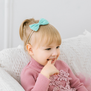 Striped Baby Headband Cute Bow Girl Head Bands Turban Newborn Bow Elastic Headbands Nylon Hairbands Kids Baby Hair Accessories diy girls grosgrain ribbon bow headband kids head bands headdress big bowknot ties headwrap hair accessories newborn baby turban