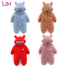 Newborn Clothing Bodysuit Jumpsuits Hooded Baby Romper Thick Infant Kids Cartoon 0-1-Years