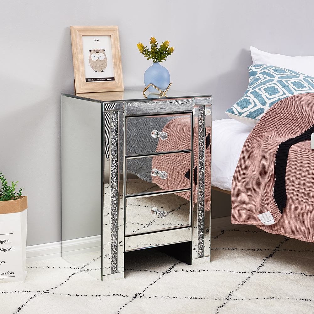 Panana Bedroom Furniture Sparkly Mirrored Crushed Crystal 3 Drawer Bedside Cabinet Table Chest Of Drawers Family Gifts
