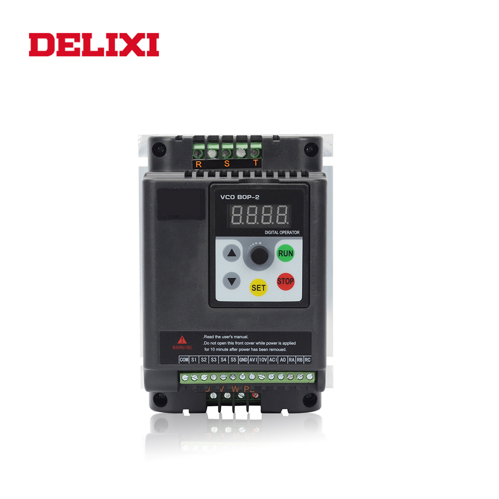 DELIXI VFD frequency inverter 0.4KW 0.75KW1.5KW 2.2kw <font><b>3kw</b></font> 220V single phase input and three phase output Speed <font><b>motor</b></font> converter image