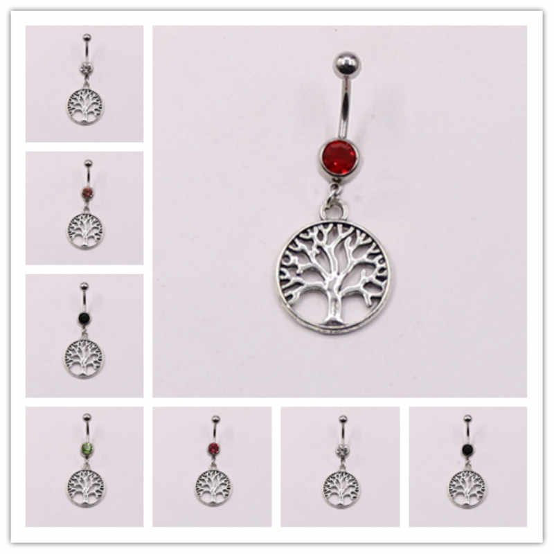 Belly button piercing jewelry Silver belly ring Dangling Tree of life Belly jewelry Surgical steel belly jewelry Clear crystals