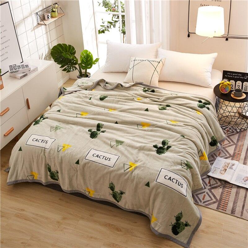Фланелевое одеяло, легкий тонкий фланелевый плед с механической стиркой, покрывало, утолщенный плюшевый чехол для кровати, дивана, домашний...
