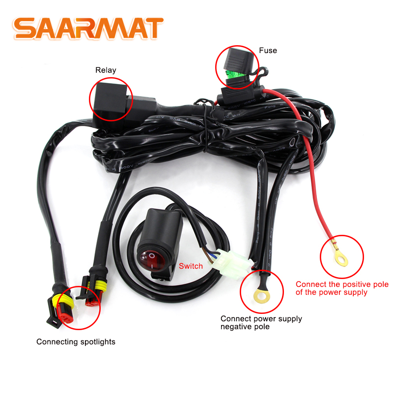 1set Motorbike Car Light 12v 24v 15A Relay Switch Control Line Group For Automotive Car Worklight Spotlight Motorcycle Headlight