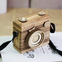 New Style Creative Hand-Made Wooden Crafts Music Box Wind-up Camera Children's Birthday Gift Ornaments Wholesale(China)