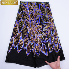 Nigerian Lace Fabric 2019 High Quality Sequin Velvet Lace Fabric Blue Embroidered Tulle African Velvet Lace Fabric A1766