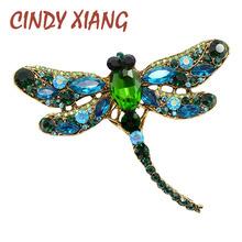 Cindy xiang Crystal Vintage Dragonfly broszki dla kobiet duża broszka z owadem moda elegancki płaszcz akcesoria śliczna biżuteria tanie tanio Ze stopu cynku Kobiety Owady BR20051 TRENDY Kryształ