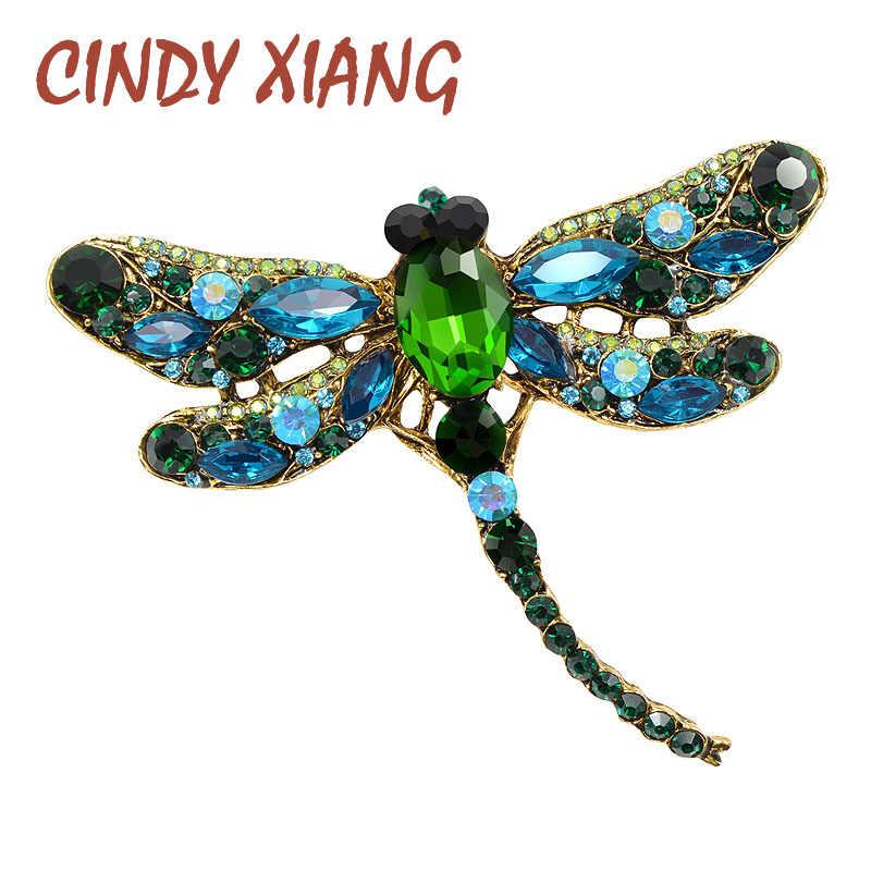 シンディxiangクリスタルヴィンテージトンボブローチ女性昆虫ブローチピンファッションドレスコートアクセサリーかわいいジュエリー