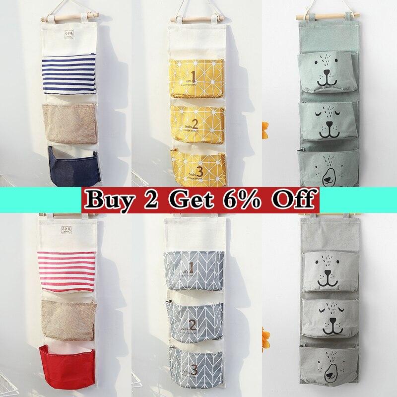 3 Pockets Wall Hanging Storage Bag Cosmetic Toy Organizer Wardrobe Cotton Linen Bathroom Storage Pouch Sundries Organize Basket