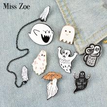 Ghost escape esmalte pino emblema café personalizado guarda-chuva overthink broches lapela pino jeans camisa saco escuro dia das bruxas jóias presente