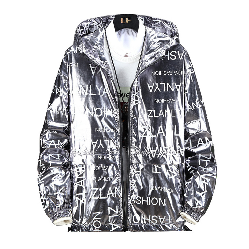 Glossy Jacket Men Gold Silver Color Spring Autumn Jackets Hip Hop Streetwear New Fashion Trend Outerwear Windbreaker Coat ,GA436