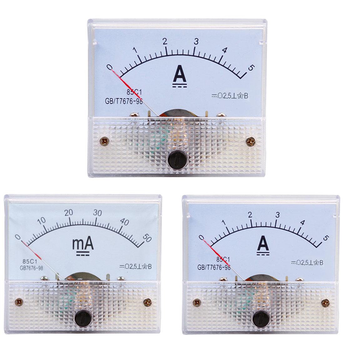 Mechanical Ammeter DC Analog Current Meter Panel Mechanical Pointer Type 5A/10A/15A/20A/30A/50A/100A