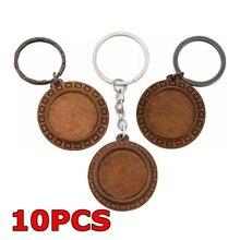 10PCS Blank Wooden Keychain Diy Base Handcraft Jewelry Making Tray Handmade Gift