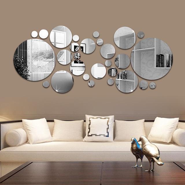 26/24pcs 3D Mirror Wall Sticker Round Mirror DIY TV Background Room Stickers Wall Decor bedroom Bathroom Home Decoration mirror 1