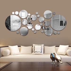 26pcs 3D Mirror Wall Sticker Round Mirror DIY TV Background Bathroom Stickers Wall Decor bedroom Bathroom Home Decoration mirror