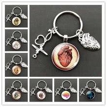 Новые творческие Анатомическое Сердце цепочка для ключей стекло металлический брелок для ключей в виде сердца знаки кулон, подарок для вра...