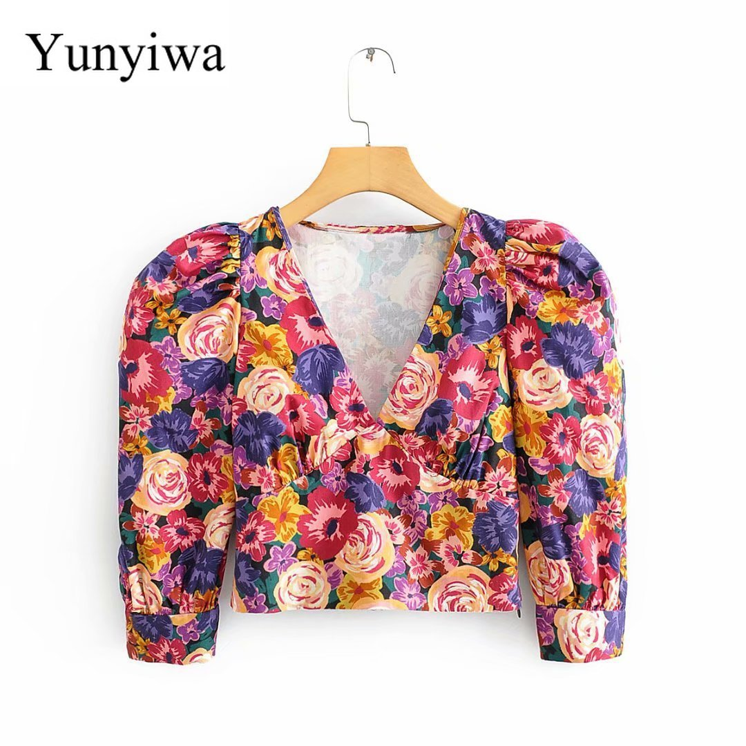 2020 Women's V-neck Printed Top High Waist Short Sleeve Shirt Womens Blouse Sexy Party Shirts Tops Clothing Blusas Mujer De Moda