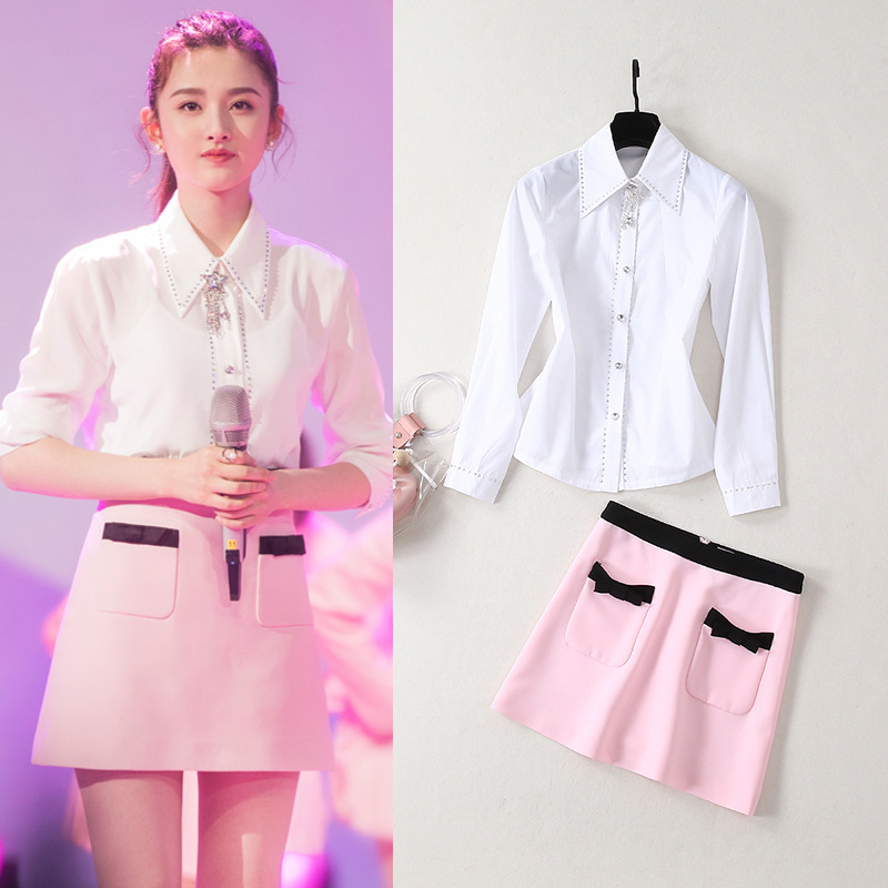 19 Summer New Products Song Joey Celebrity Style Fold-down Collar Hot Drilling Shirt + Skirt WOMEN'S Suit Sweet College Style Tw