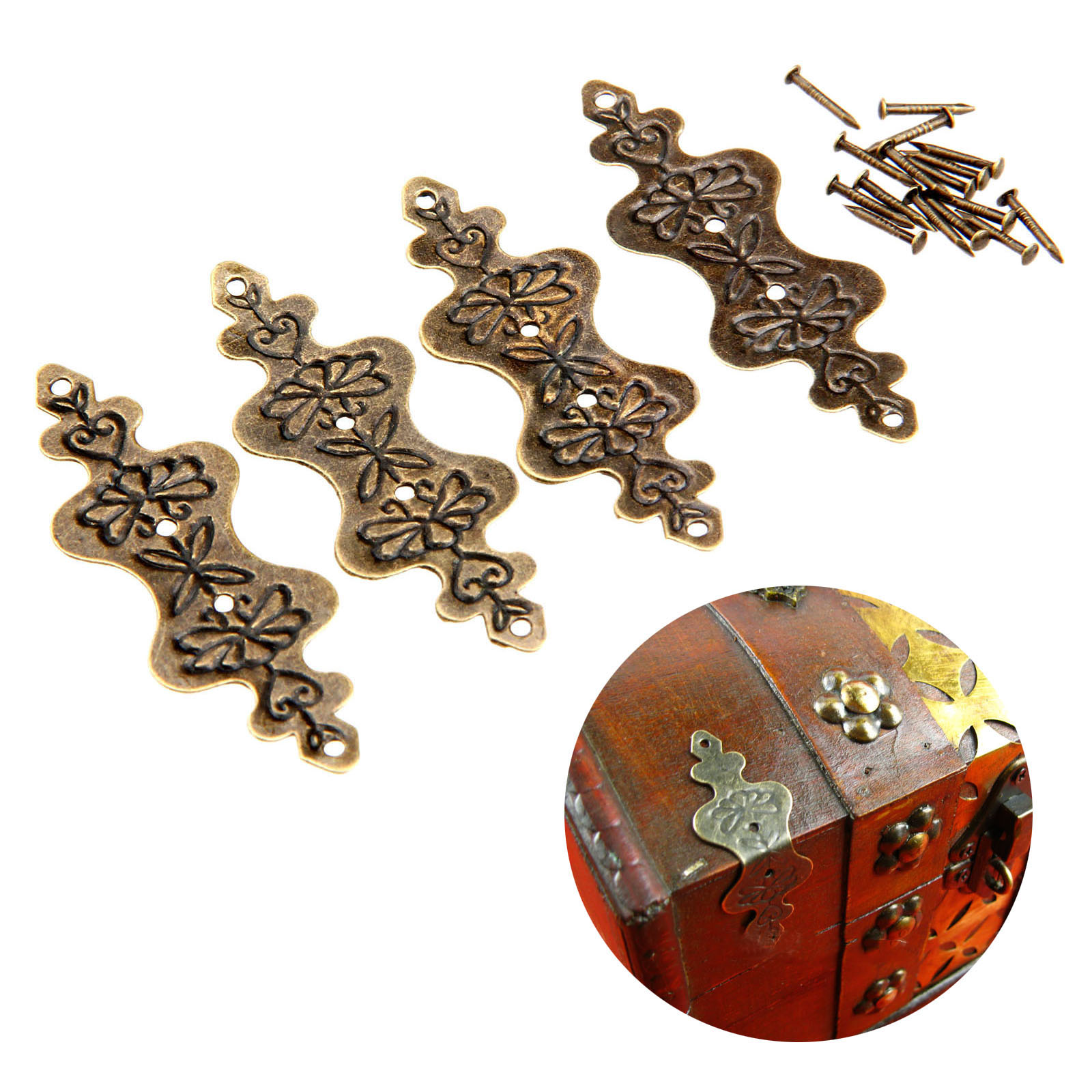 4Pcs Antique Bronze Corner Bracket Jewelry Box Wood Case Decorative Feet Leg Corner Protector Furniture Fittings W/Nails 56*20mm