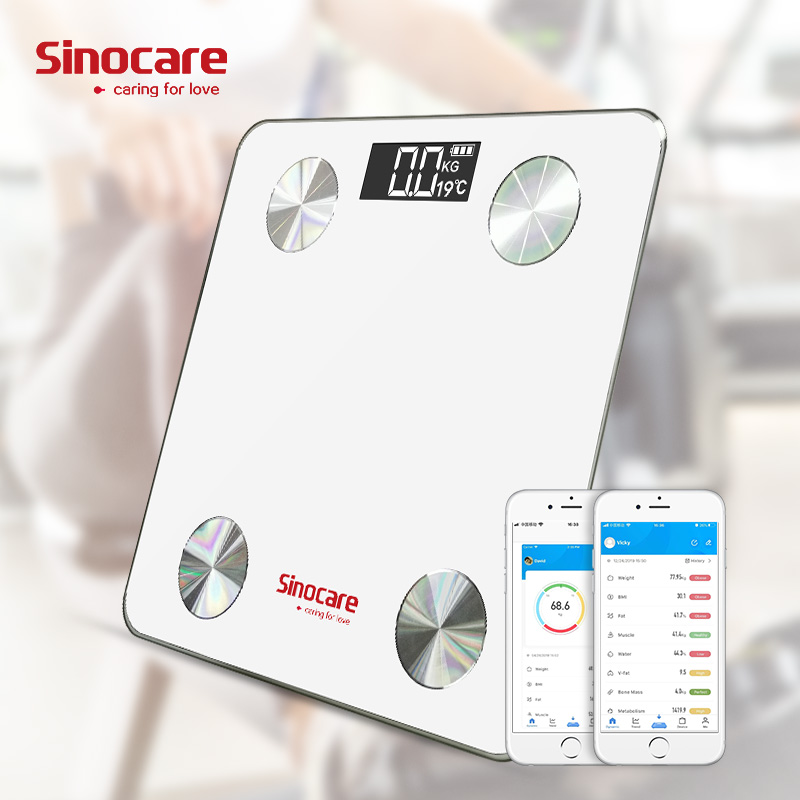 Sinocare Smart Weight Scale Body Fat Scale Bluetooth 4.0 Floor Body Fat Monitor Balance Test 8 Body Date BMI Health LED Display