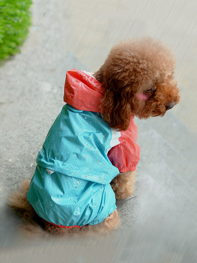 Pet Dog Raincoat Spring And Summer Thin Clothes Jumpsuit Dog Jacket Water Resistant Four Feet Clothes For Dogs Pet Hooded Coat
