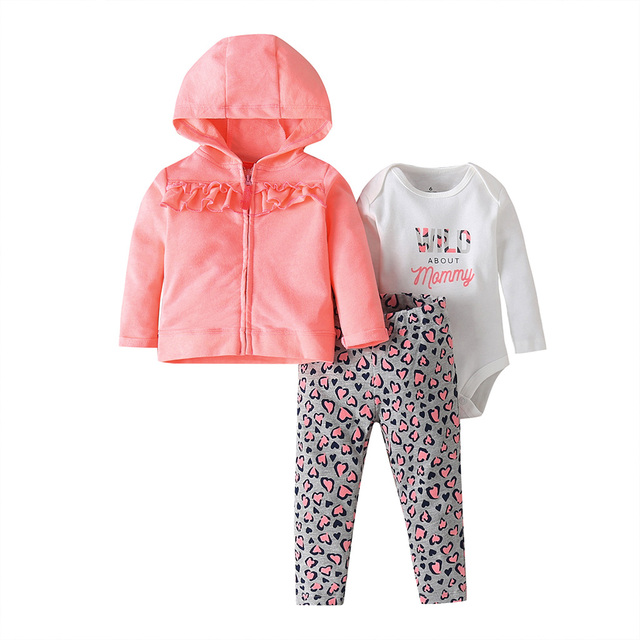 baby girl clothes long sleeve hooded jacket+floral bodysuit+pant 2020 fashion newborn outfit fall infant clothing set zipper 5