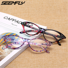 Seemfly Cat Eye Reading Glasses Women Diamond Magnifying Presbyopic Eyeglasses For Male Female With Diopter +1.0 To +4.0 Unisex
