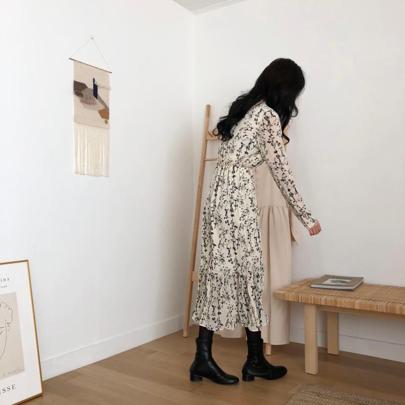 H314b52074a474f829161e5966778dd3aA - Autumn Korean V-Neck Long Sleeves Chiffon Floral Print Midi Dress