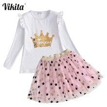 VIKITA kız sonbahar giyim çocuk pamuklu uzun kollutişört T Shirt üstleri ve prenses Tutu katmanlı etekler çocuk kız giyim setleri