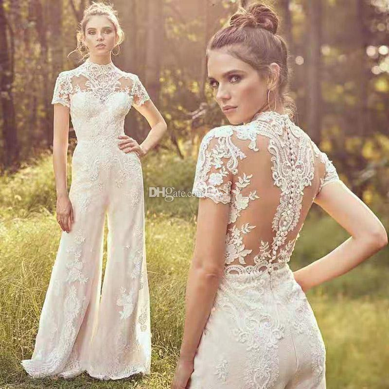 Country Jumpsuits 2020 Wedding Dresses High Neck Short Sleeve Lace Appliqued Beach Boho Bridal Gowns Vestido De Novia