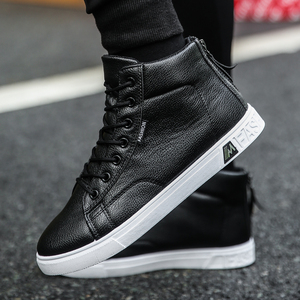 Image 1 - Autumn and Winter High top Shoes Wild Fashion Keep Warm  PU Mens Casual Shoes Trend Wear Resistant Sloe Mens Fasthion Sneakers