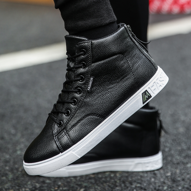 Autumn and Winter High top Shoes Wild Fashion Keep Warm  PU Mens Casual Shoes Trend Wear Resistant Sloe Mens Fasthion Sneakers