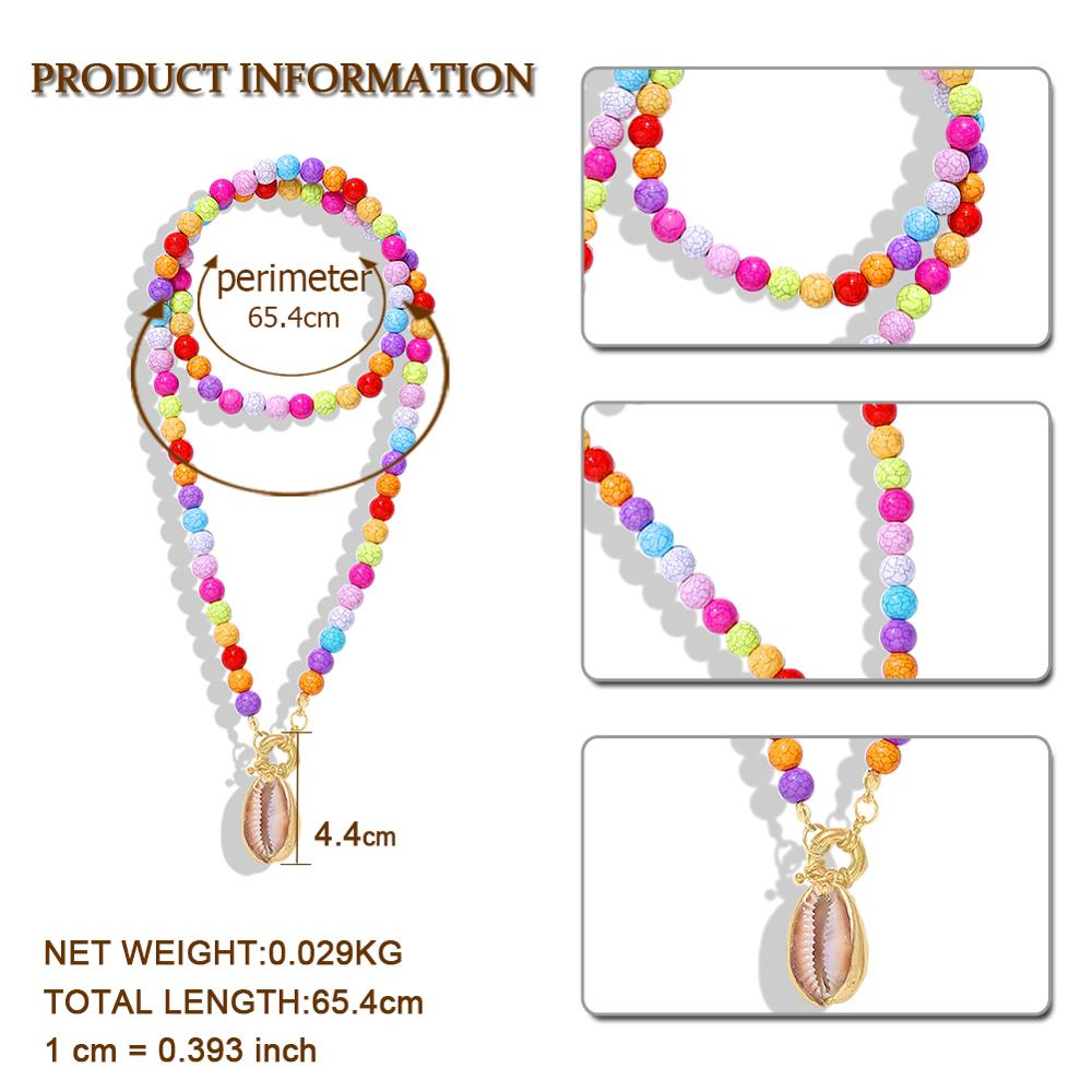 Bohomian Handmade Beaded Strand Shell Necklace Women Accessories 2019 Hot Fashion Multicolor Statement Necklace Wholesale Newly Pakistan