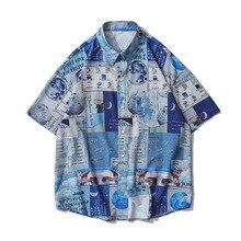 Men Shirt Short Sleeve 2021 New Arrival Summer Loose Male Shirt Thin High Tech Cartoons Astronaut Japanese Style S44