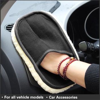 Czyścik samochodowy do czyszczenia wełny miękkie rękawiczki 15*24cm rękawice do mycia samochodów rękawice do mycia samochodów szczotka do czyszczenia motocykl podkładka czyszczenie samochodu tanie i dobre opinie 15cm Artificial Wool Gąbki Tkaniny i szczotki Mitten design to provides better skid resistance 15inch 24inch Car Styling Wool Soft