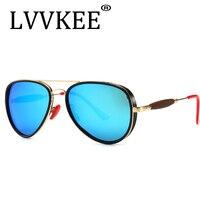 LVVKEE Classic brand Men Sunglasses women men driving pilot glasses oculos Steampunk male G15 Polarized lens rays Red Blue UV400