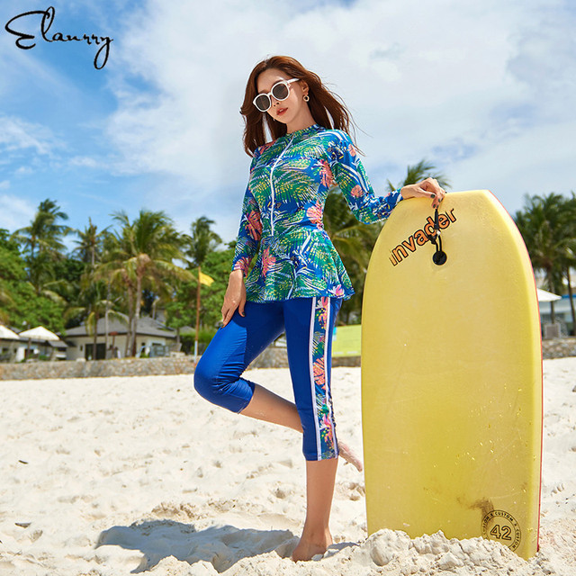 2020 newest women surfing suit 4 pieces sport swimwear long sleeves print rashgurads zipper swimsuit padded plus size rashguards
