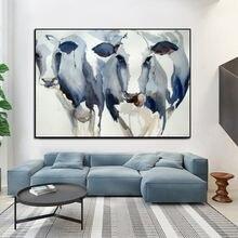Скандинавский современный художественный абстрактный синий акварель