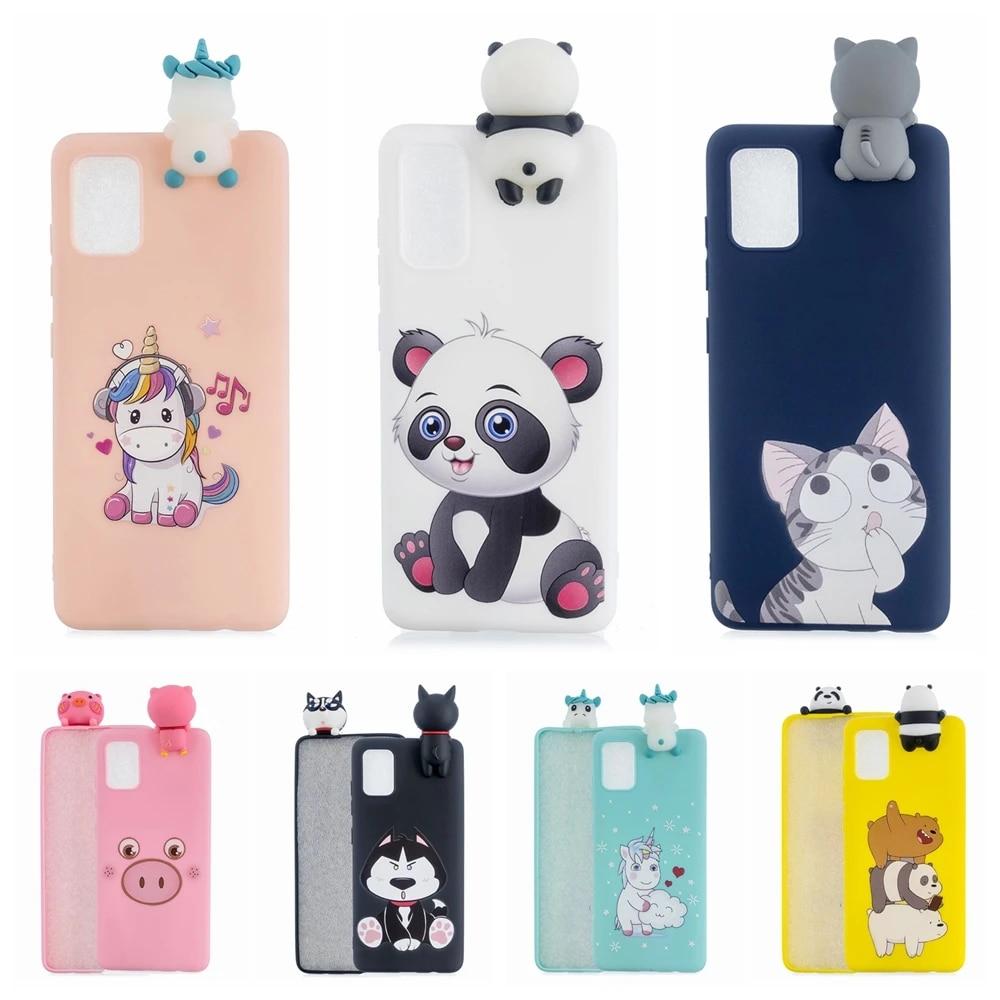 A11 Case on for Samsung A01 A11 A21 A41 Case 3D Kawaii Unicorn Panda Silicon Cover for Coque Samsung Galaxy A51 A71 A81 A91 A10S