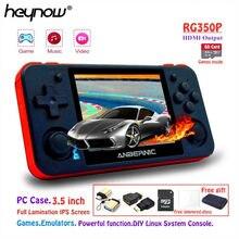 Heynow rg350p sistema linux retro game console ps1 emuladores de jogos hdmi saída vídeo jogador de jogos handheld 3.5 polegada ips tela rg350