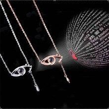 Eye Necklace Personalized Projection 100 languages I Love You Women heart stainless steel cadenas de acero yo te amo