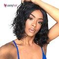 Короткие парики из человеческих волос для черных женщин, бразильские волосы Реми, натуральные волнистые человеческие волосы, парик естеств...