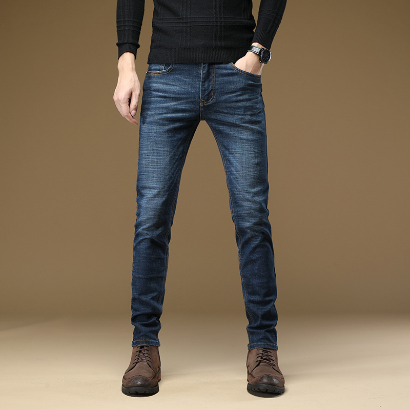 Autumn And Winter New Style Elasticity Jeans Men's Straight-Cut Men Casual Business Trousers Slim Fit Pants MEN'S Trousers