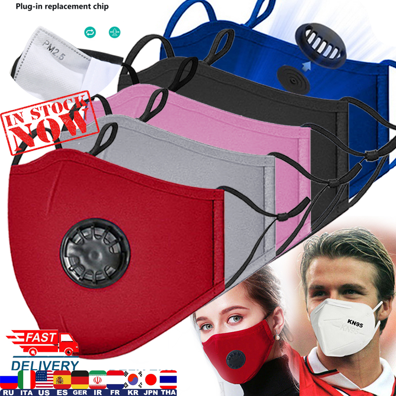 5 Color Fashion Washable Face Mask For Woman Man New Breath Valve Mouth Masks Pollution Activated Carbon Filter PM2.5 Filter Pad