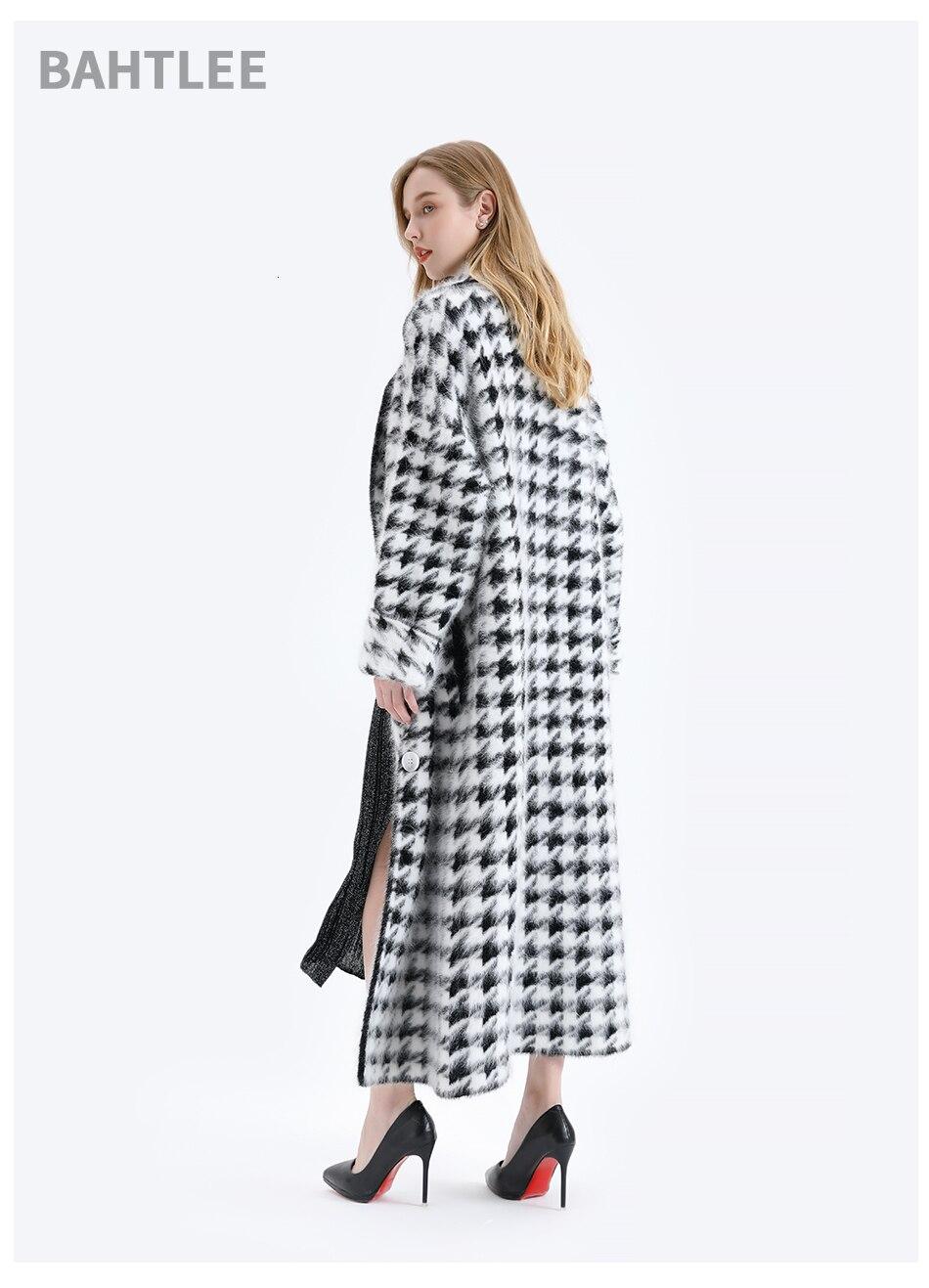 BAHTLEE Women Angora Long Coat Houndstooth Pattern Sweater Winter Wool Knitted Cardigans Jumper Turn Down Collar Long Sleeves 8