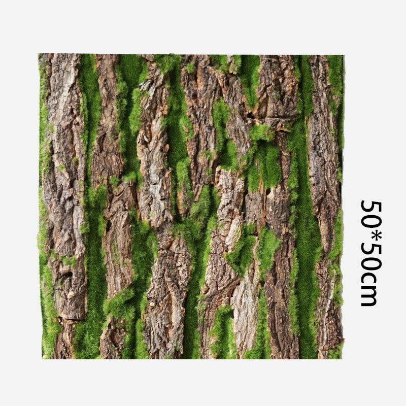 50*50CM Simulation Tree Bark Home Sewer Decoration Fake Tree Bark Green Moss Wedding Decoration Grass Wall Artificial Plants