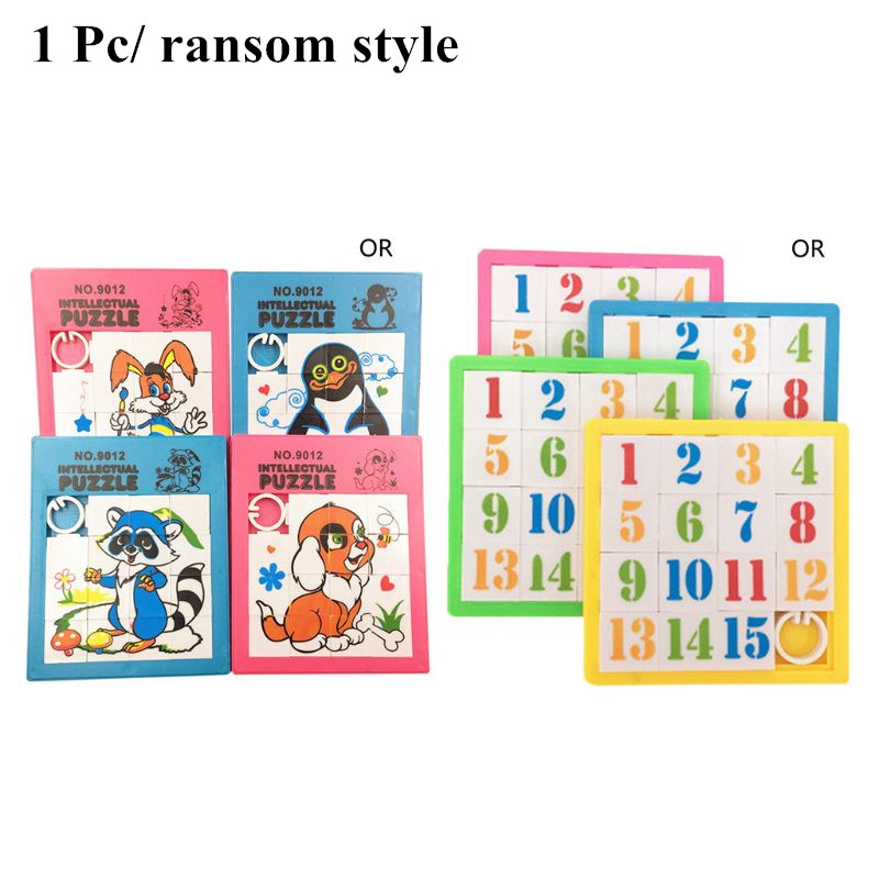15 Space 3D Plastic Sliding Jigsaw Puzzle Game Cute Cartoon Animal Numbers Kids Children Learning Education Toys Gifts