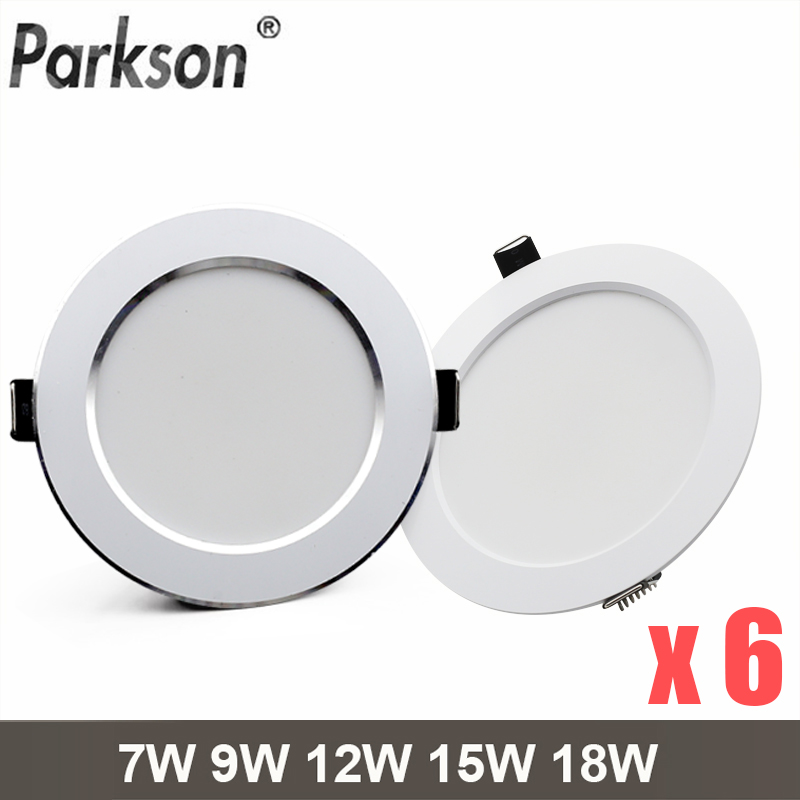 6PCS/lot LED Downlight 7W 9W 12W 15W 18W Round Recessed Spot Light AC220V 240V Home Decor Waterproof Down Light Spot Led Lamp