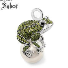 قلادة الضفدع الفضة اللون الأخضر زركونيا للنساء هدية سلسلة مفاتيح دلاية مجوهرات صالح قلادة توماس