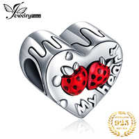 JewelryPalace Strawberry Heart 925 Sterling Silver Beads Charms Silver 925 Original Fit Bracelet Silver 925 original Jewelry